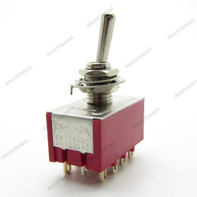 5mini Toggle Switch 4pdt 2 Position On-on 12-pin 250v 2a 120v 5a Red Mts-402