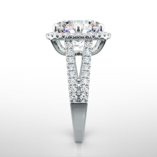 Diamond Ring Halo Setting 4.5 Ct Natural Promise Ladies Colorless 14k White Gold