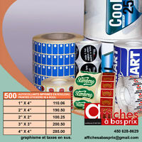 AUTOCOLLANTS IMPRIMÉS / PRINTED STICKERS AT LOW PRICE