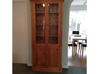 Pine display cabinet with leaded glass