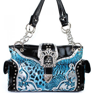 CHEETAH LEOPARD ANIMAL RHINESTONE BELT BUCKLE WESTERN PURSE HANDBAG BLUE 512