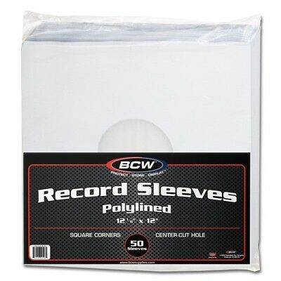 Pack of 50 BCW Polylined Paper 33RPM LP Album Record Inner Sleeves poly lined