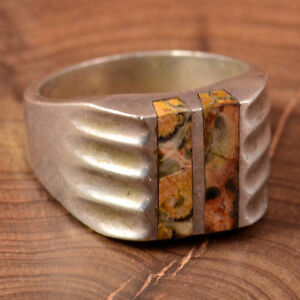 Mens Vintage Mexican Jasper .925 Silver Ring, Size 11 1/2