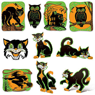 10 Retro Cutout Fluorescent Halloween Decorations Vintage Style by Beistle