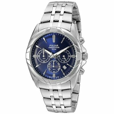 Pulsar Men's PT3683 Chronograph Blue Dial Silver Tone Stainless Steel Watch