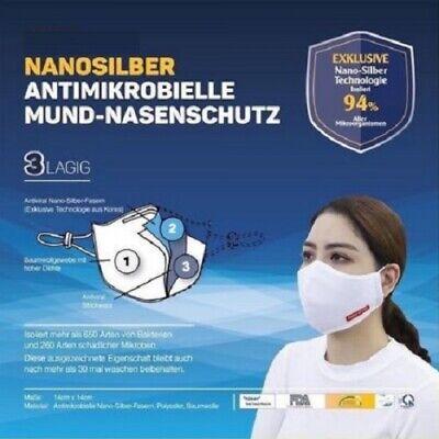 2x Mundbedeckung waschbar Atemschutz Mund Nasenschutz Maske Nanosilber 3-lagig