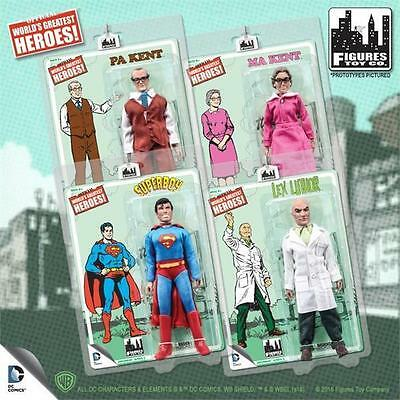 SUPERMAN RETRO; SET OF 4; 8 INCH FIGURES SUPERBOY; LEX LUTHOR; MA & PA KENT MOSC