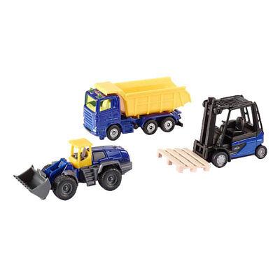 SIKU Set Hard Work Spielzeug LKW mit Kippmulde, Gabelstapler & Liebherr Radlader