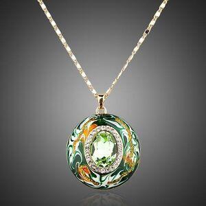 Genuine Swarovski Element Green Crystal Round Enamel Necklace Pendant Jewellery