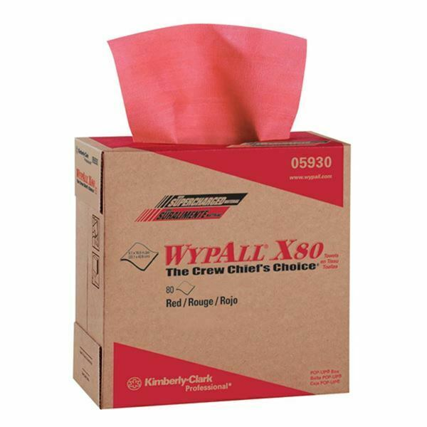 "Wypall 05930 9.1"" x 16.8"" Red Hot X80 Pop-Up Box Wipers (80/Pack)"