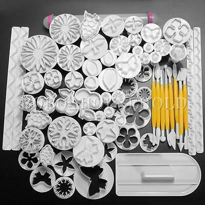 68Pcs Fondant Cake Decorating Sugarcraft Plunger Cutter Tools Mold Mould Cookies
