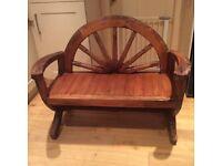 Wooden cartwheel seat
