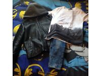 River island leather look jacket skinny jeans and t shirt