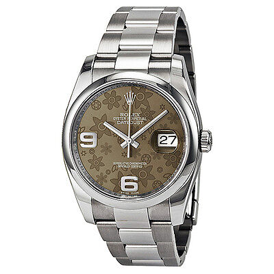 Rolex Datejust 36 Brown Floral Dial Stainless Steel Rolex Oyster Automatic