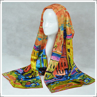 """Oblong 100% Charmeuse Silk Scarf  Art Wassily Kandinsky's """"Houses in Munich"""""""