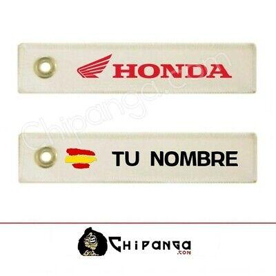 Llavero Tela Honda personalizado nombre con bandera España no pegatina camiseta