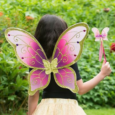 Girls Adult Glitter Cerise Gold Fairy Pixie Nymph Festival Fancy Dress Up Wings