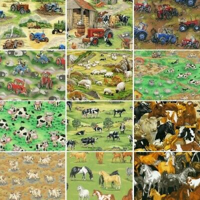 100% Cotton Fabric Nutex Farm Animals In the Country Sheep Pig Horse - Animals In Costumes