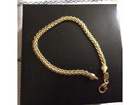 Silver and 9carat gold bonded braceletlocal