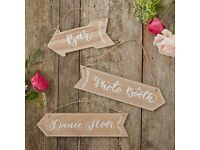 Brand NEW - Wooden Arrow wedding Signs