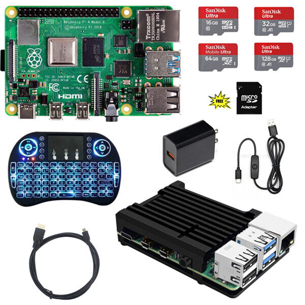 Raspberry Pi 4 Model B DIY (4G, 2G, 1G) Kit – Metal Case NOOBS Ultra-Silent Computers/Tablets & Networking