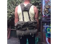 Army military webbing backpack and Ground roll