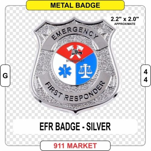 Emergency First Responder SILVER Badge Paramedic EMT SAR Rescue Patch FD -  G 44