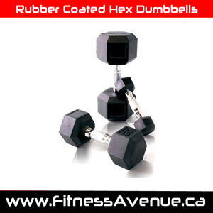 Rubber Coated Hex Dumbbells – Brand New