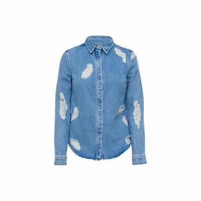 House of Holland distressed lace insert denim shirt RRP £200