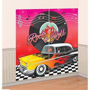 Party Supplies Decorations Rock n Roll Classic 50's Scene Setter Wall Decoration