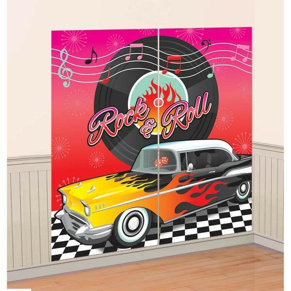 Party Supplies Birthday  Rock n Roll Classic 50's Scene Setter Wall Decoration