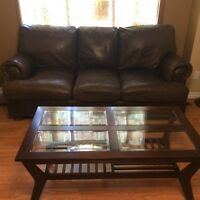 Brown leather couch is clean 130$