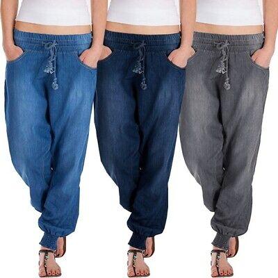 Womens Solid Color Drawstring Denim Jeans Pants Baggy Pants Loose Fit Trousers Denim Cloth Womens Jeans