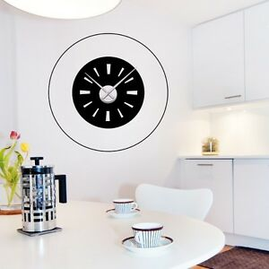 sticker mural horloge g ante ronde avec m canisme aiguilles ebay. Black Bedroom Furniture Sets. Home Design Ideas