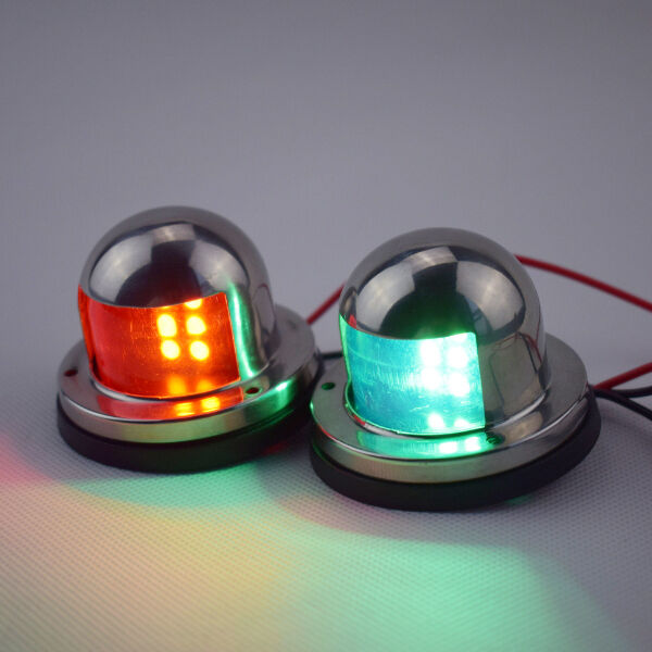 112.5° A Pair Bow Navigation LED Light  Boats -Stainless Housing Red and Green