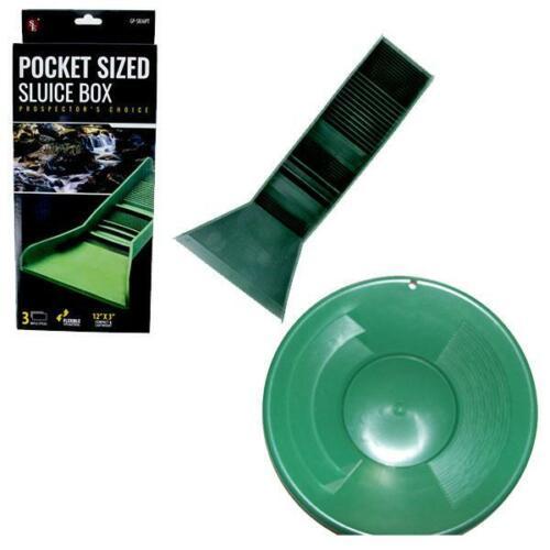 """Pocket Sized TPR Plastic Green Sluice Box - 12""""X3""""x5.5"""" & 10"""" Green Gold Pan"""