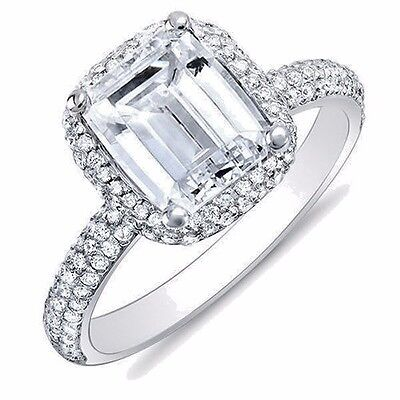 Lovely 2.04 Ct Emerald Cut Micro Pave Halo Diamond Engagement Ring H VS2 14K GIA