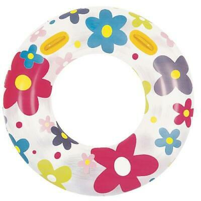 Inflatable White and Pink Fashion Flower Print Swimming Pool Inner Tube, 42-Inch - Inflatable Flowers