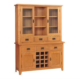 New!! Rustic Oak Large Dresser with Wine Rack