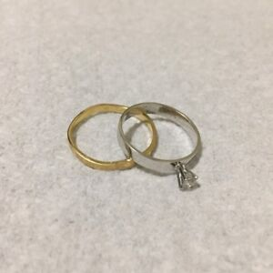 14K white Gold with Diamond and 18K Gold Ring