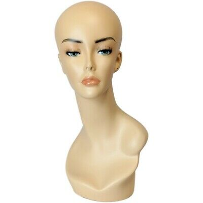 Mn-062c108 Female Mannequin Head Form W Pierced Ears Hand Painted Makeup