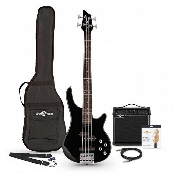 3/4 Chicago Bass Guitar + 15W Amp Pack Black