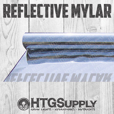MYLAR 25 50 100 150 ft ROLL Reflective Film 2X THICK Grow Room Tent Silver Shiny - Silver Mylar