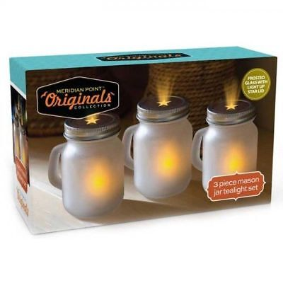Mason Jar LED Tealight Set 3 Star Shaped Lids Frosted Glass Batteries Included