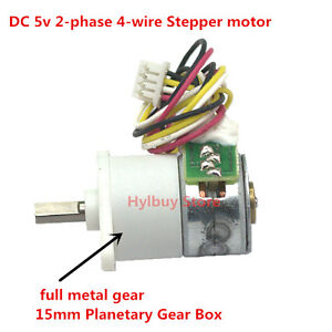 Dc 5v 6v 2 phase 4 wire stepper motor full metal gear box for Stepper motor gear box