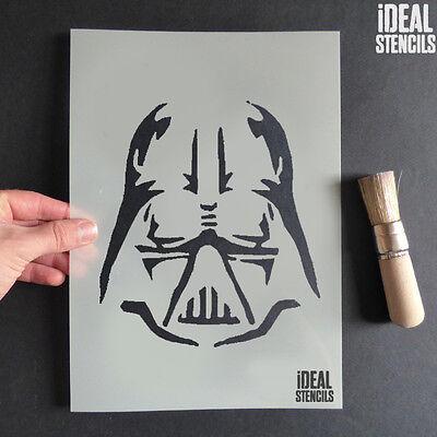 Darth Vader Face Stencil Reusable Plastic Art Craft Wall Ideal Iconic Stencil ()