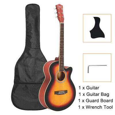 40 Inch Spruce Front Cutaway Folk Acoustic Guitar + Bag Guard Boar Tool Beginner