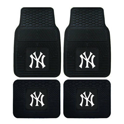 New Mlb New York Yankees Front Back Rubber Heavy Duty All Weather Floor Mats