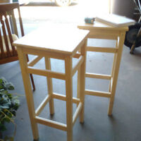 2 Square Wooden Planter Stands