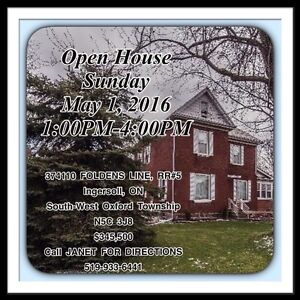 OPEN HOUSE IN INGERSOLL Today 1-4pm!